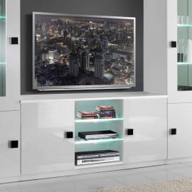 Meuble TV 2 portes Blanc/Blanc à LEDS - ZEME