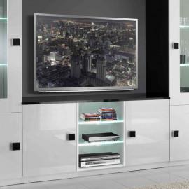 Meuble TV 2 portes Blanc/Noir à LEDS - ZEME