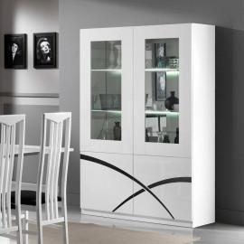 Vaisselier 4 portes Blanc laqué à LEDS - CROSS