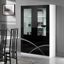 Vaisselier 4 portes Noir/Blanc laqué à LEDS - CROSS