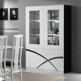 Vaisselier 4 portes Blanc/Noir laqué à LEDS - CROSS