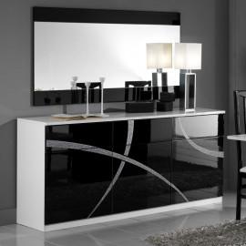 Buffet 3 portes 3 tiroirs Noir/Blanc - CROSS