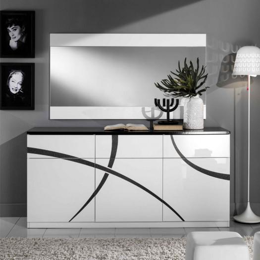 Buffet 3 portes 3 tiroirs Blanc/Noir - CROSS