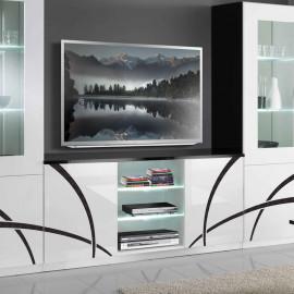 Meuble TV 2 portes Blanc/Noir à LEDS - CROSS