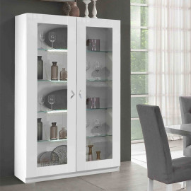 Vitrine 2 portes 4 étagères Blanc à LEDs - POTIRI