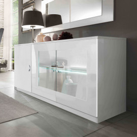 Buffet 3 portes Blanc à LEDs - POTIRI