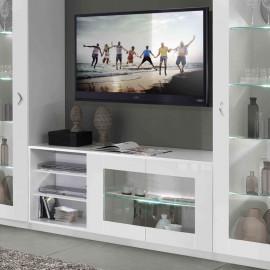 Meuble TV 2 portes 3 niches Blanc à LEDs - POTIRI