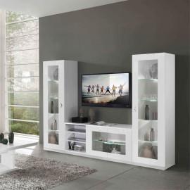 Composition TV Blanc à LEDs - POTIRI