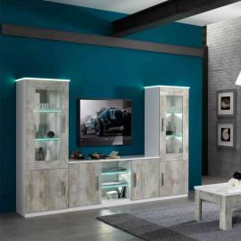 Composition TV Blanc/Beton à LEDs - RAIMA