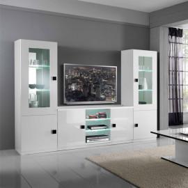 Composition TV Blanc/Blanc à LEDs - ZEME