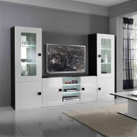 Composition TV Blanc/Noir à LEDs - ZEME