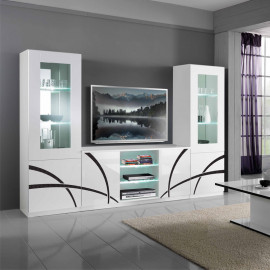 Composition TV Blanc/Blanc à LEDs - CROSS