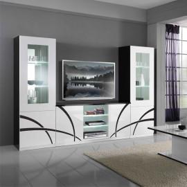 Composition TV Blanc/Noir à LEDs - CROSS