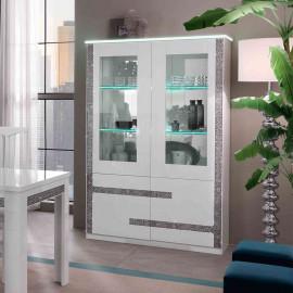 Vaisselier 4 portes Blanc à LEDs - CRAC