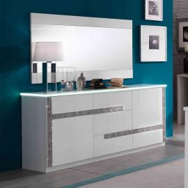 Buffet 2 portes 3 tiroirs Blanc à LEDs - CRAC