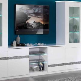 Meuble TV 2 portes 3 niches Blanc à LEDs - CRAC