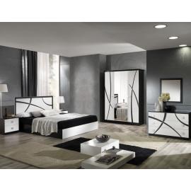 Chambre complète 160*200 Blanc/Noir - CROSS