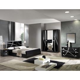 Chambre complète 160*200 Noir/Argent - CROSS