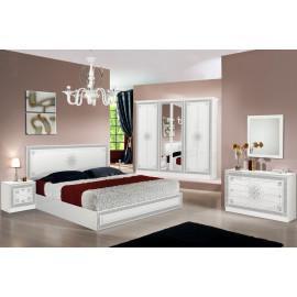Chambre complète 160*200 Blanc/Gris - HURFA