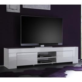 Meuble TV 2 portes laqué Blanc brillant - FATISCA