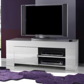 Meuble TV 1 porte laqué Blanc brillant - FATISCA