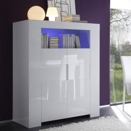 Vaisselier 2 portes laqué Blanc à LEDs - FATISCA