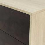 Buffet 2 portes 3 tiroirs Béton/Chêne clair - CALIA