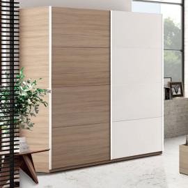 Armoire 2 portes coulissantes Blanc/Chêne - COPIST
