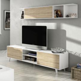 Composition TV Blanc brillant/Chêne clair - STOCKTON