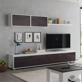 Composition TV Blanc/Béton ciré foncé - RUYRUY