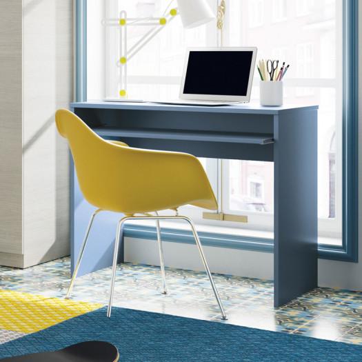 Bureau avec tablette coulissante Bleu - DESKOU