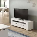 Meuble TV 2 portes 2 niches Blanc - RUINUI
