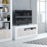Meuble TV 2 portes 1 niche Blanc/Pin blanc - BALTOP