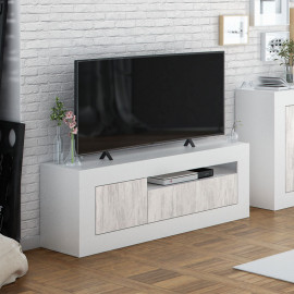 Meuble TV 2 portes 1 niche Blanc/Pin blanc - BALTOP