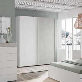 Armoire 2 portes coulissantes Blanc/Béton ciré clair - SPARTAN