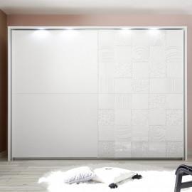 Armoire 2 portes 275 cm Blanc à LEDs - FIORI