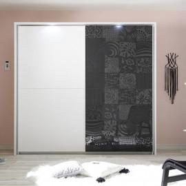 Armoire 2 portes 220 cm Blanc/Gris à LEDs - FIORI