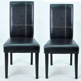 Duo de chaises Simili Cuir Marron/Noir - SAMET