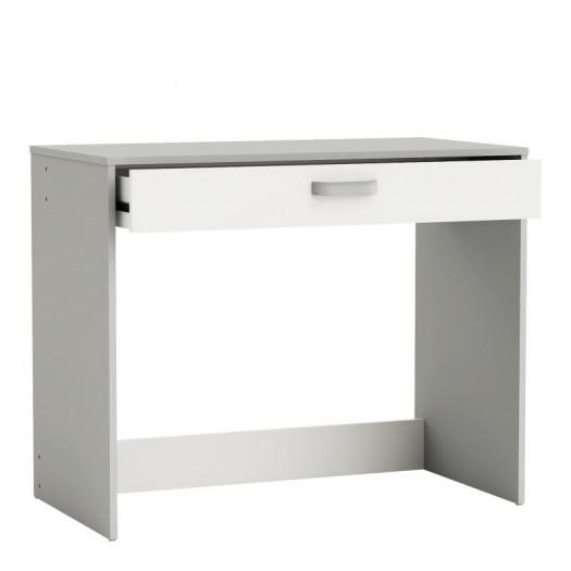 Bureau 1 tiroir Blanc/Gris - KISORA