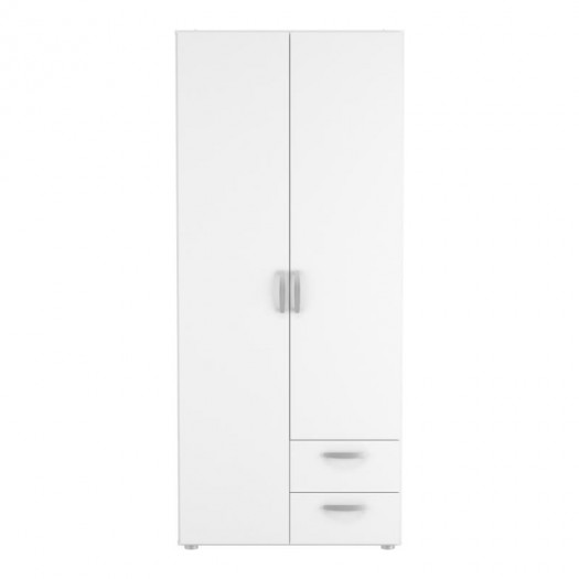 Armoire 2 portes 2 tiroirs Blanche - ALAMARI