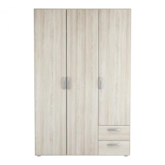 Armoire 3 portes 2 tiroirs Chêne clair - ALAMARI