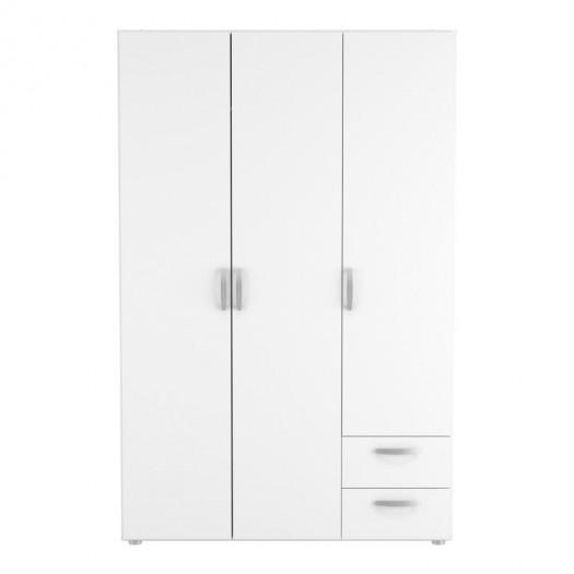 Armoire 3 portes 2 tiroirs Blanche - ALAMARI