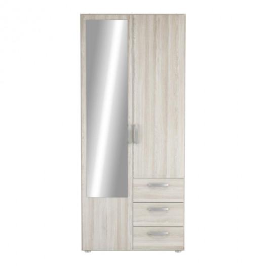 Armoire 2 portes 3 tiroirs Chêne clair - ALAMARA
