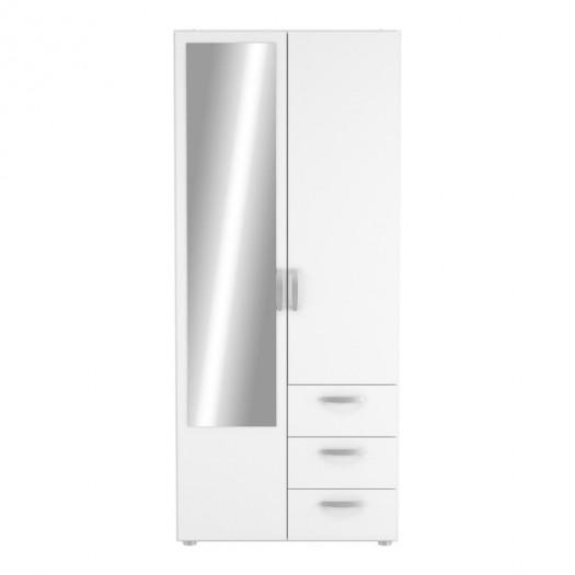 Armoire 2 portes 3 tiroirs Blanc - ALAMARA