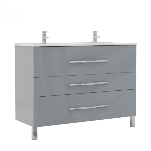 Meuble double vasque 3 tiroirs 120 cm Gris clair - LANA