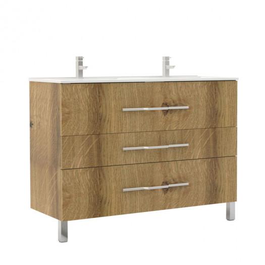 Meuble double vasque 3 tiroirs 120 cm Chêne Rustique - LANA