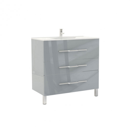 Meuble sous vasque 3 tiroirs 90 cm Gris clair - LANA