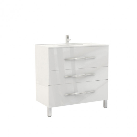 Meuble sous vasque 3 tiroirs 90 cm Blanc - LANA