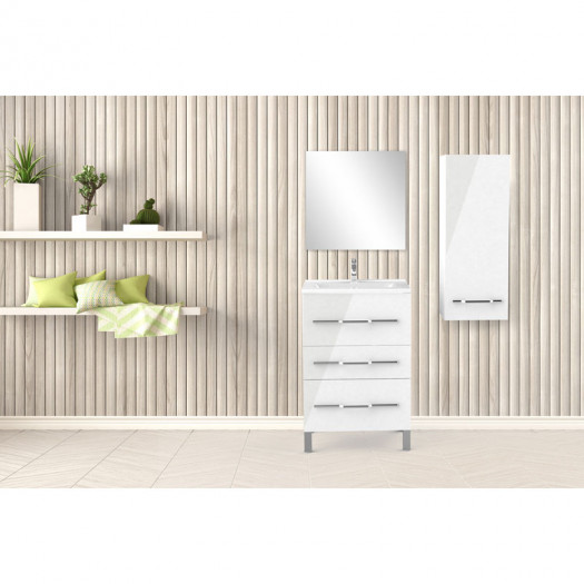 Ensemble meuble sous vasque 3 tiroirs 60 cm Blanc + colonne + miroir - LANA