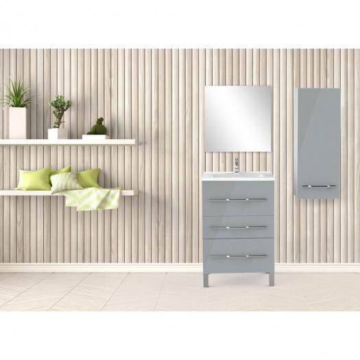 Ensemble meuble sous vasque 3 tiroirs 60 cm Gris clair + colonne + miroir - LANA